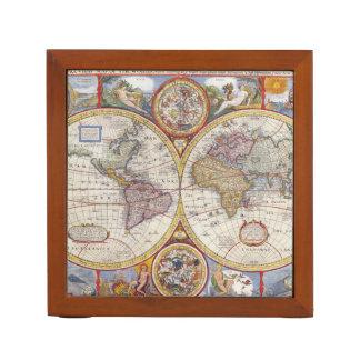 Vintage Antique Old World Map cartography Desk Organiser