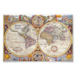 Vintage Antique Old World Map cartography Photograph
