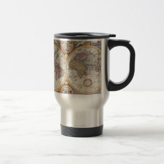 Vintage Antique Old World Map cartography Stainless Steel Travel Mug