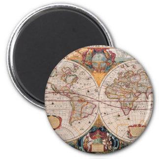 Vintage Antique Old World Map Design Faded Print 6 Cm Round Magnet