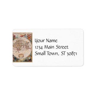 Vintage Antique Old World Map Design Faded Print Address Label