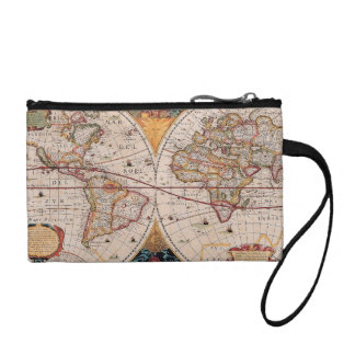 Vintage Antique Old World Map Design Faded Print Coin Purses