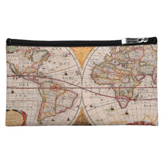 Vintage Antique Old World Map Design Faded Print Cosmetic Bag