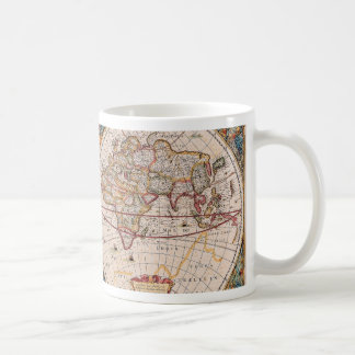 Vintage Antique Old World Map Design Faded Print Basic White Mug