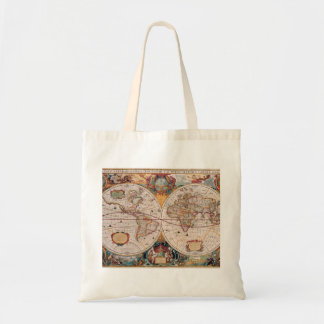 Vintage Antique Old World Map Design Faded Print Budget Tote Bag