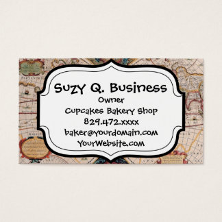 Vintage Antique Old World Map Design Faded Print Business Card