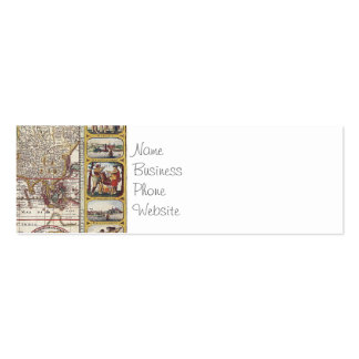 Vintage Antique Old World Map Design Faded Print Business Card Template