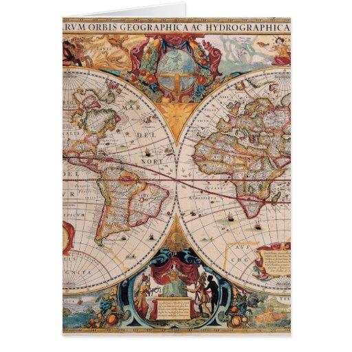 Vintage Antique Old World Map Design Faded Print Cards