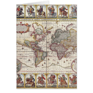 Vintage Antique Old World Map Design Faded Print Greeting Card