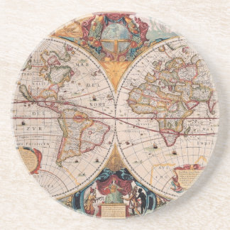 Vintage Antique Old World Map Design Faded Print Coaster
