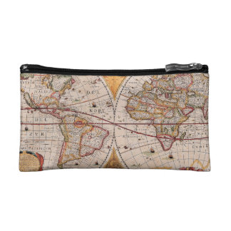 Vintage Antique Old World Map Design Faded Print Cosmetic Bags