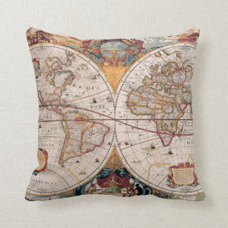 Vintage Antique Old World Map Design Faded Print Cushions