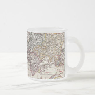 Vintage Antique Old World Map Design Faded Print Frosted Glass Coffee Mug