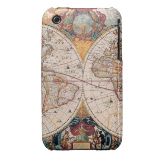 Vintage Antique Old World Map Design Faded Print iPhone 3 Case-Mate Cases