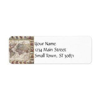 Vintage Antique Old World Map Design Faded Print Return Address Label