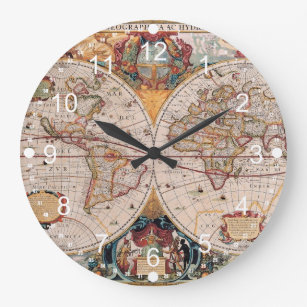 Antique world map wall clocks zazzle vintage antique old world map design faded print large clock gumiabroncs Images