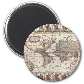 Vintage Antique Old World Map Design Faded Print Fridge Magnets