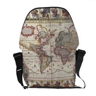 Vintage Antique Old World Map Design Faded Print Messenger Bags