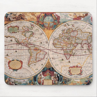 Vintage Antique Old World Map Design Faded Print Mouse Pad