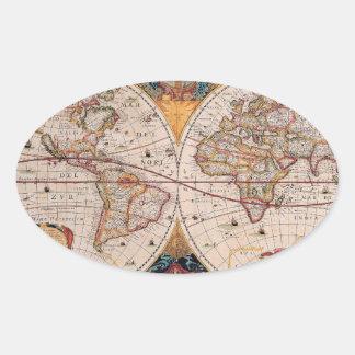 Vintage Antique Old World Map Design Faded Print Oval Sticker