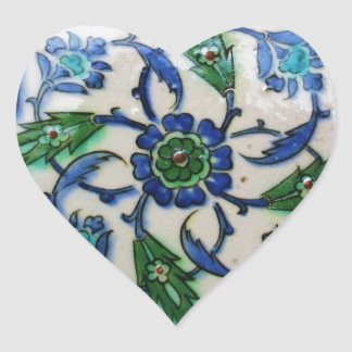 Vintage Antique Ottoman Tile Design Heart Sticker