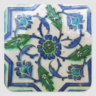 Vintage Antique Ottoman Tile Design Square Sticker