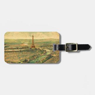 Vintage Antique Paris Print Luggage Tag
