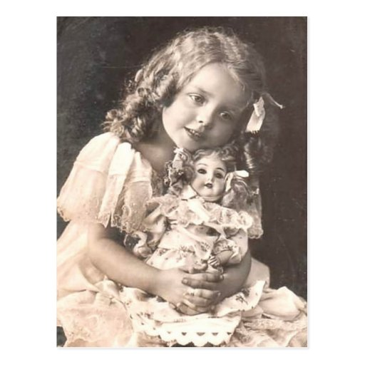 'Vintage Antique Portrait Of A Girl And Her Doll Postcard