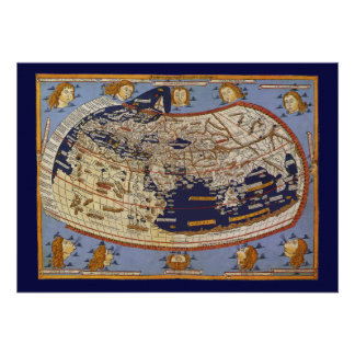 Vintage Antique Ptolemaic World Map, 1482 Custom Invitations