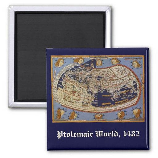 Vintage Antique Ptolemaic World Map, 1482 Refrigerator Magnet