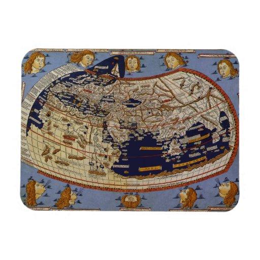 Vintage Antique Ptolemaic World Map, 1482 Flexible Magnet