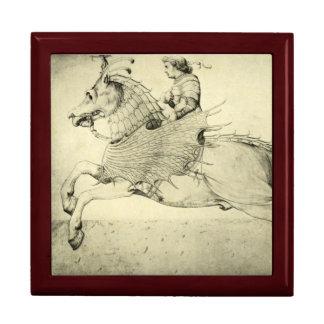 Vintage Antique Renaissance Pegasus Bellerophon Large Square Gift Box