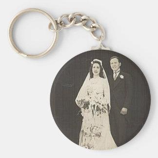Vintage Antique Romantic Bride and Groom Photos Key Chain