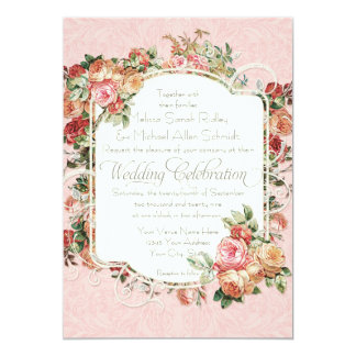 Vintage Antique Rose Floral Bouquet Formal Wedding Card