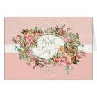 Vintage Antique Rose Floral Bouquet Thank You Note Card