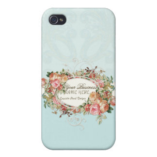 Vintage Antique Roses Floral Bouquet Modern Swirls Cover For iPhone 4