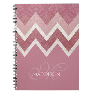 Vintage Antique Style Pink Chevron Custom Name Spiral Notebook
