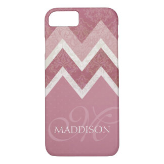 Vintage Antique Style Pink Chevron Monogram iPhone 8/7 Case