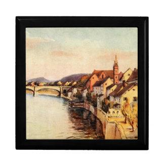 Vintage Antique Switzerland Rhine River Basel Large Square Gift Box