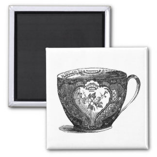 Vintage Antique Tea Cup 1800's Fridge Magnet