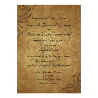 Vintage Antique Teastain Swirl Wedding Custom Invitations