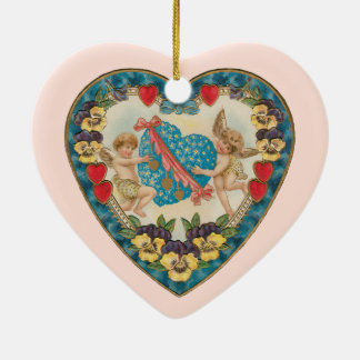 Vintage Antique Valentine's Day, Angels in a Heart Ceramic Heart Decoration