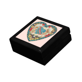 Vintage Antique Valentine's Day, Angels in a Heart Small Square Gift Box