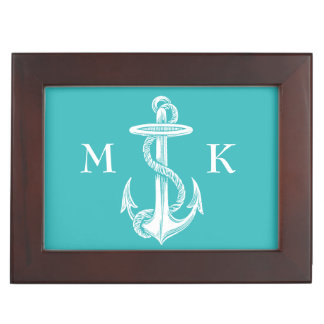 Vintage Antique White Anchor Turquoise Background Memory Boxes