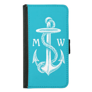 Vintage Antique White Anchor Turquoise Background Samsung Galaxy S5 Wallet Case