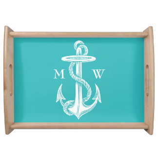 Vintage Antique White Anchor Turquoise Background Serving Tray