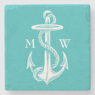 Vintage Antique White Anchor Turquoise Background Stone Coaster