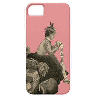 Vintage Antique Woman Luggage Cruise Ship Suitcase iPhone 5 Cover