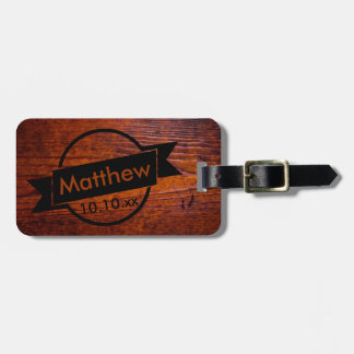 Vintage Antique Wood Grain Photo - Best Man Gift Luggage Tag