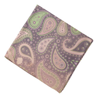 Vintage Antiqued Purple Paisley Bandana